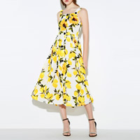 Mixed Fabric & Cotton One-piece Dress, different size for choice & mid-calf, printed, floral, yellow, Sold By PC
