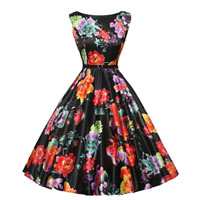 Polyester & Cotton Princess One-piece Dress with belt printed floral black Sold By PC