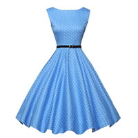Polyester & Cotton Princess One-piece Dress with belt printed dot blue Sold By PC