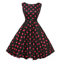Polyester & Cotton Princess One-piece Dress, different size for choice & with belt, printed, dot, black, Sold By PC