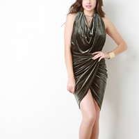 Polyester Halter Dress, backless & different size for choice & off shoulder, Solid, more colors for choice, Sold By PC