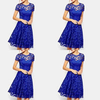 Spandex & Polyester One-piece Dress, different size for choice & hollow, with Lace, patchwork, more colors for choice, Sold By PC