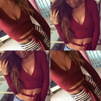 Spandex & Cotton Crop Top Long Sleeve Nightclub Top, different size for choice, Solid, more colors for choice, Sold By PC