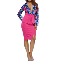 Spandex & Polyester Women Business Dress Suit, different size for choice & knee-length, printed, floral, fuchsia, Sold By Set