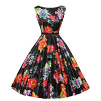 Polyester & Cotton Princess One-piece Dress, different size for choice & with belt, with Spandex, printed, floral, black, Sold By PC