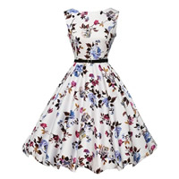Polyester   Cotton Princess One-piece Dress printed floral white Sold By PC