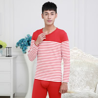 Polyester & Cotton Men Thermal Underwear Sets more thicker and more wool printed striped Sold By Set