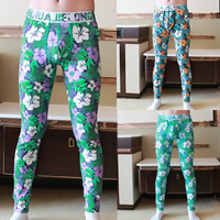 Cotton Hip-hugger Men Leggings breathable printed floral Sold By PC