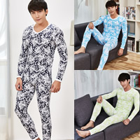 Polyester   Cotton Men Thermal Underwear Sets printed floral Sold By Set