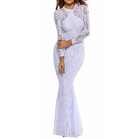 Spandex & Polyester Mermaid Long Evening Dress, backless & different size for choice & hollow, with Lace, patchwork, more colors for choice, Sold By PC