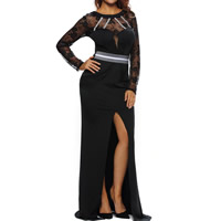 Spandex & Polyester Long Evening Dress backless floor-length & transparent patchwork black Sold By PC