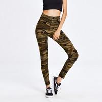 Polyester Women Yoga Pants printed camouflage army green Size:Free Size