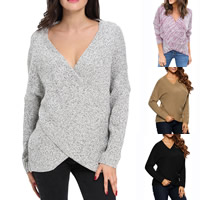 Spandex   Polyester Women Sweater knitted Solid