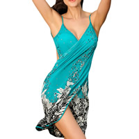 Polyester Beach Dress backless printed floral turquoise blue Size:Free Size Sold By PC