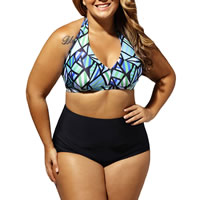 Spandex & Polyester Plus Size Bikini, different size for choice & padded, printed, geometric, black, Sold By Set