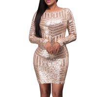 Spandex & Polyester Sexy Package Hip Dresses, backless & different size for choice, with Sequin, patchwork, pink, Sold By PC
