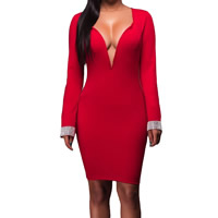 Spandex & Polyester Sexy Package Hip Dresses, different size for choice, with Rhinestone, patchwork, red, Sold By PC