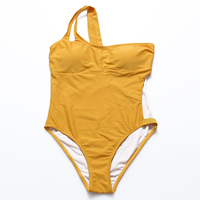 Nylon   Polyester One-piece Swimsuit hollow   padded   Shoulder Solid orange Sold By PC