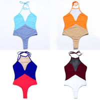 Nylon & Polyester One-piece Swimsuit, different size for choice & padded, with Gauze, patchwork, more colors for choice, Sold By PC