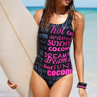 Polyester One-piece Swimsuit, different size for choice & padded, printed, letter, black, Sold By PC