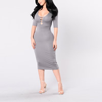 Polyester Sexy Package Hip Dresses, different size for choice & hollow & mid-calf, Solid, more colors for choice, Sold By PC