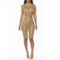 Polyester Nightclub Set hollow with Sequin skirt & teddy gold Sold By PC