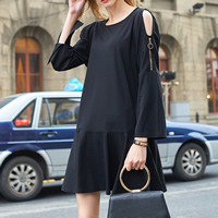 Cotton A-line One-piece Dress, different size for choice & off shoulder, Solid, black, Sold By PC