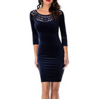 Spandex & Polyester Sheath One-piece Dress, plain dyed, Solid, more colors for choice, Sold By PC