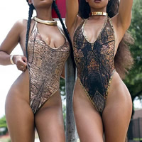 Polyester One-piece Swimsuit, backless & different size for choice & padded, printed, snakeskin pattern, more colors for choice, Sold By PC