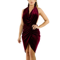 Spandex & Polyester One-piece Dress, backless & off shoulder, plain dyed, patchwork, more colors for choice, Sold By PC