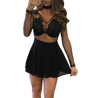 Spandex & Polyester Women Romper transparent & breathable embroidered floral black Sold By PC