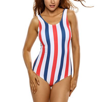 Spandex & Polyester One-piece Swimsuit, backless & different size for choice & hollow & padded, printed, striped, more colors for choice, Sold By PC