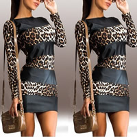 Cotton Sexy Package Hip Dresses, different size for choice, printed, leopard, brown, Sold By PC