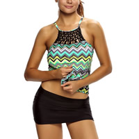Spandex & Polyester Plus Size Tankinis Set, padded, printed, striped, Sold By PC