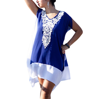 Polyester One-piece Dress, embroider, floral, blue and white, Size:Free Size, Sold By PC