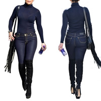 Polyester Women Casual Set, different size for choice, long sleeve blouses & Pants, Solid, blue, Sold By Set