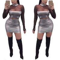 Polyester Nightclub Set transparent with Gauze skirt & top patchwork grey Sold By PC