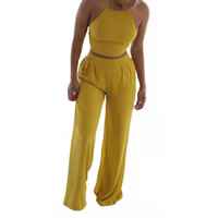Nylon Women Casual Set, backless & different size for choice & off shoulder, tank top & Pants, Solid, yellow, Sold By Set