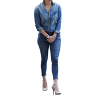 Polyester Women Casual Set long sleeve shirt   Pants patchwork blue Sold By Set