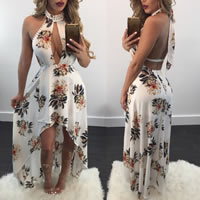 Polyester Long Evening Dress, backless & different size for choice & short front long back & off shoulder & floor-length, printed, floral, white, Sold By PC