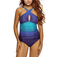 Spandex & Polyester Plus Size One-piece Swimsuit, different size for choice & padded & skinny style, plain dyed, patchwork, blue, Sold By PC