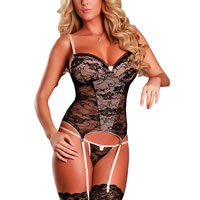 Spandex   Polyester Sexy Babydoll hollow   breathable garter belt   teddy embroider floral black