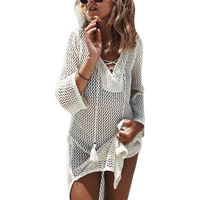 Polyester & Cotton Lace Up Beach Dress, hollow, beige, Size:Free Size, Sold By PC