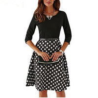 Acrylic   Polyester   Cotton Autumn and Winter Dress with belt printed dot black