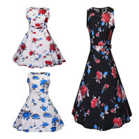 Polyester Princess One-piece Dress with belt printed floral Sold By PC