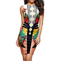 Polyester Sexy One-piece Dress above knee with Spandex printed different color and pattern for choice