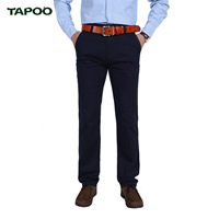 Polyester   Cotton without belt   Plus Size Men Casual Pants plain dyed Solid