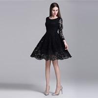 Polyester One-piece Dress hollow with Lace floral Sold By PC