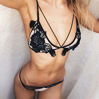 Acrylic   Nylon Bra Top hollow patchwork black