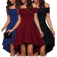 Polyester One-piece Dress short front long back & off shoulder plain dyed Solid Sold By PC